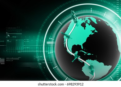 3d rendered Global business network concept isolated on color background