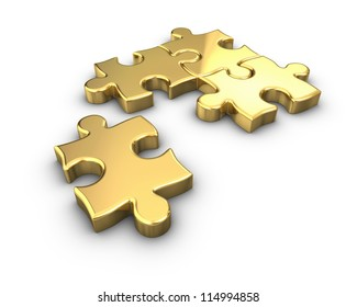 3D rendered Gold jigsaw puzzle.