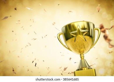 3d rendered gold star trophy in gold glitter background