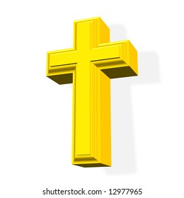 3D rendered golden cross symbol over white background with shadow