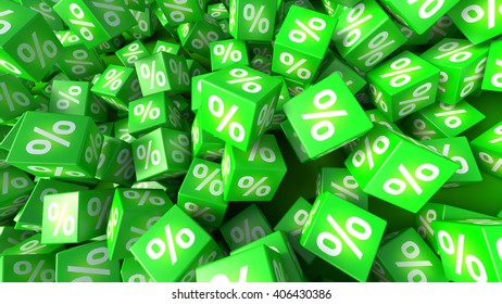 3D rendered green cubes labeled percent.