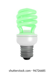 3D Rendered Green Glowing CFL Light Bulb on a White Background
