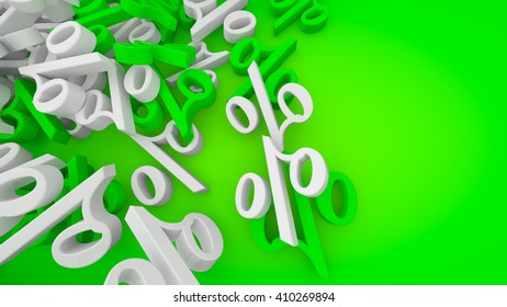 3D rendered green sale background with white and green percent symbols.