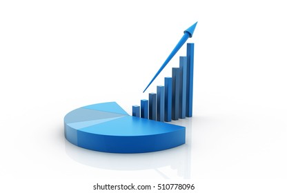 3d rendered growth graph and pie chart isolated on white background