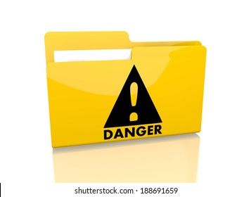 a 3d rendered icon showing a file folder with a Danger sign on it isolated on white background