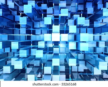 3D rendered illustration of abstract blue background with one point perspective
