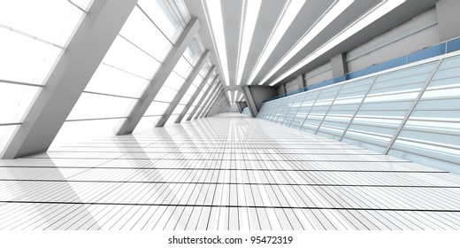 3D rendered Illustration. Airport architecture visualization.
