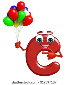 3d rendered illustration of alphabet C Cartoon Character with balloons