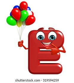 3d rendered illustration of alphabet E Cartoon Character with balloons