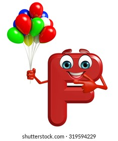 3d rendered illustration of alphabet F Cartoon Character with balloons