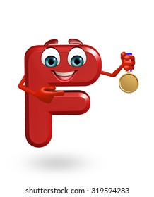 3d rendered illustration of alphabet F Cartoon Character with medal