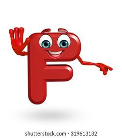 3d rendered illustration of alphabet F Cartoon Character