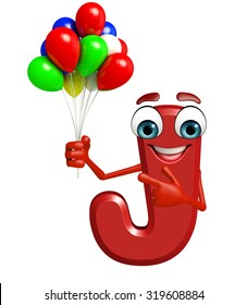3d rendered illustration of alphabet J Cartoon Character with balloons
