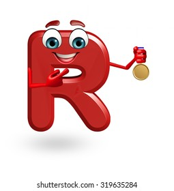 3d rendered illustration of alphabet R Cartoon Character with medal