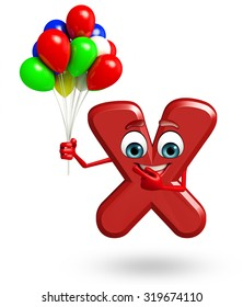 3d rendered illustration of alphabet X Cartoon Character with balloons