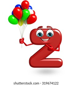 3d rendered illustration of alphabet Z Cartoon Character with balloons