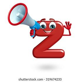 3d rendered illustration of alphabet Z Cartoon Character with loudspeaker