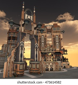 3D rendered illustration of ancient city during sunset