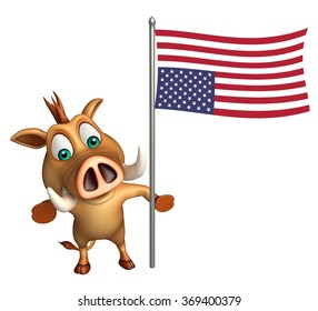 3d rendered illustration of Boar cartoon character with flag