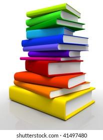 3D rendered Illustration of books stack in spectrum colors