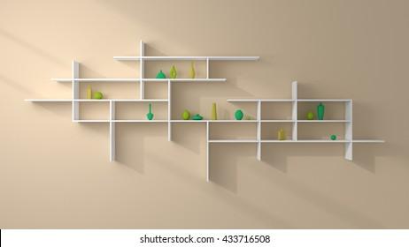 3d rendered illustration of bookshelves with simple decorative ceramics.