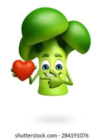 3d rendered illustration of broccoli cartoon character