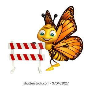 3d rendered illustration of Butterfly cartoon character with baracade