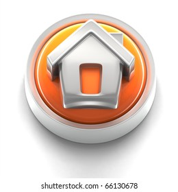 3D rendered illustration of button icon with home symbol