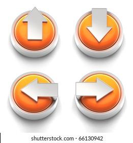 3D rendered illustration of button icon set  featuring directional arrows