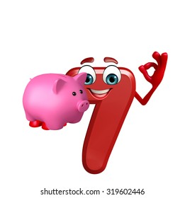 3d rendered illustration of cartoon character of seven digit with piggy bank