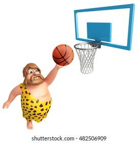 3d rendered illustration of Caveman with Basket ball and Basket