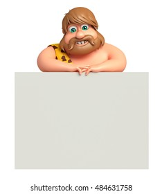 3d rendered illustration of Caveman with White board