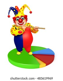 3d rendered illustration of Clown with Circle sign & flute