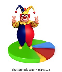 3d rendered illustration of Clown with Circle sign