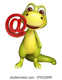3d rendered illustration of Dinosaur cartoon character with at the rate sign