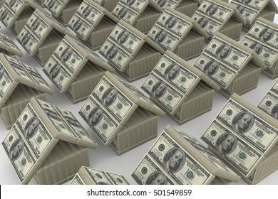 3D rendered illustration of dollar house.