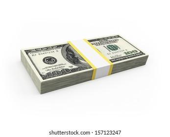 3d rendered illustration of a dollar stack