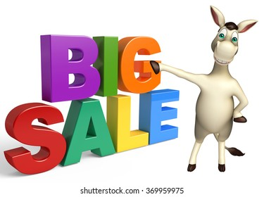 3d rendered illustration of Donkey cartoon character with big sale