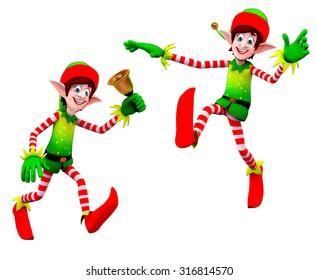 3d rendered illustration of elves with bell