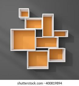 3d rendered illustration of empty modern shelves.