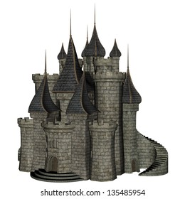 3D rendered illustration of fantasy castle on white background isolated