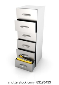 3D rendered Illustration. A filing cabinet containing documents. Isolated on white.