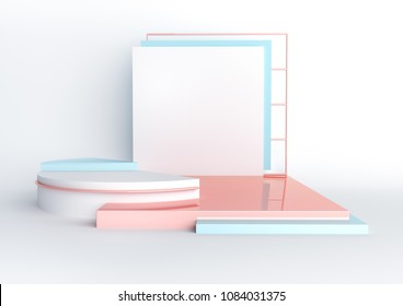 3d rendered illustration with geometric shapes. Pastel colors platforms for product presentation. White paper square mockup. Abstract composition in modern style.  Minimalist design with empty space.