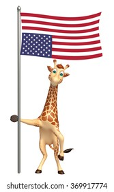 3d rendered illustration of Giraffe cartoon character with flag
