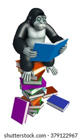 3d rendered illustration of Gorilla cartoon character with book stack