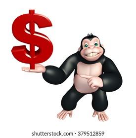 3d rendered illustration of Gorilla cartoon character