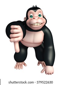 3d rendered illustration of Gorilla cartoon character  with assigning thums down
