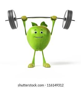 3d rendered illustration of a green apple