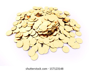 3d rendered illustration of a heap of gold coins