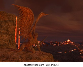 3D rendered illustration of hell scene with lava and statues of fallen angels